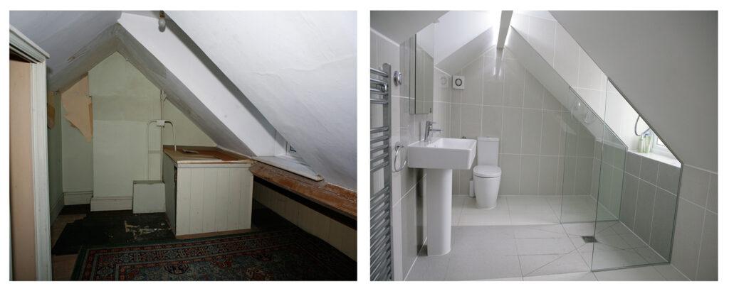 Attic bathroom conversion